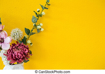 Yellow wall modern interior style with colorful flowers background texture