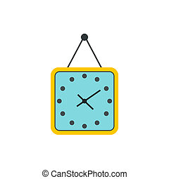 Yellow wall square clock icon, flat style