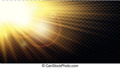 Yellow warm light effect, sun rays, beams