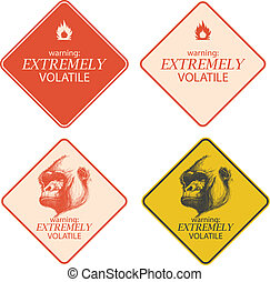 Yellow warning and danger signs collection eps8