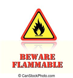 Yellow Warning Beware Flammable Icon Background Vector Image