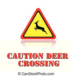 Yellow Warning Caution Deer Crossing Icon Background Vector Image