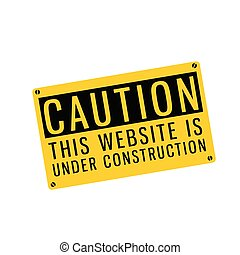 Yellow Warning Caution This Website Is Under Construction Vector Image