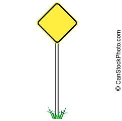 Yellow warning information road signs with grass isolated on white