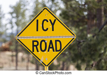 Icy Road - Yellow warning sign, Icy Road, United States