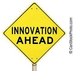 Yellow Warning Sign - Innovation Ahead - Future