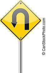 Yellow warning sign u-turn road sign on white background