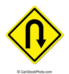 Yellow warning sign u-turn roadsign on white background