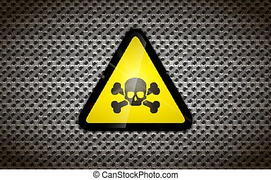 Yellow warning sign with black skull on metallic grid, industrial background