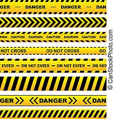 Yellow warning tapes set