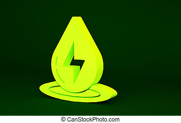 Yellow Water energy icon isolated on green background. Ecology concept with water droplet. Alternative energy concept. Minimalism concept. 3d illustration 3D render