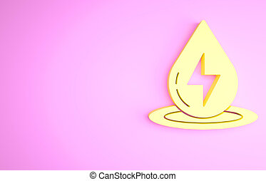 Yellow Water energy icon isolated on pink background. Ecology concept with water droplet. Alternative energy concept. Minimalism concept. 3d illustration 3D render