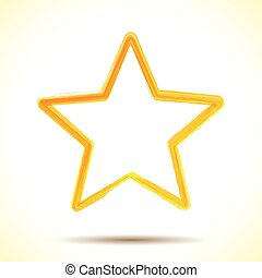 Yellow watercolor brush painted ink star