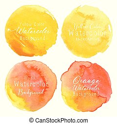 Yellow watercolor circle set on white background. Vector illustration.