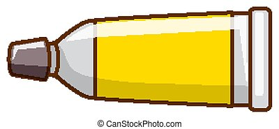 Yellow watercolor in tube on white background