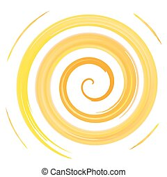 yellow watercolor spiral, vector illustration