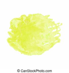 Yellow watercolor stain isolated on white background -...