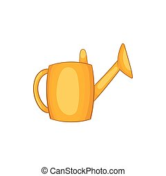Yellow watering can icon, cartoon style