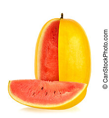 Yellow watermelon isolated on the white background
