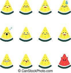 Yellow watermelon modern flat emoticon set