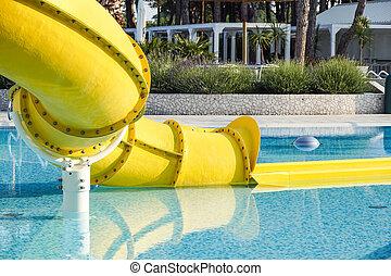 waterslide ending in a swimming pool