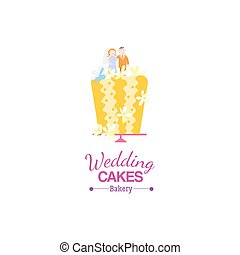 Yellow wedding cake card