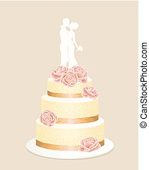 wedding cake - Yellow wedding cake with pink flowers with...