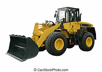 Yellow Wheel Loader isolated on white