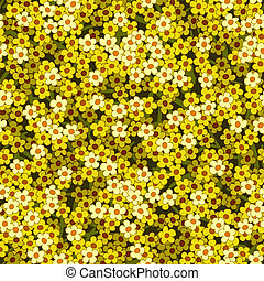 yellow white flowers seamless background pattern