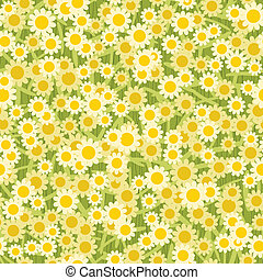 yellow white flowers seamless background pattern