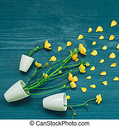 Yellow wildflowers in white pots on a blue wooden surface