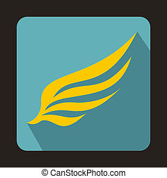 Yellow wing icon in flat style
