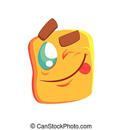 Yellow Winking Emoji Cartoon Square Funny Emotional Face Vector Colorful Isolated Sticker