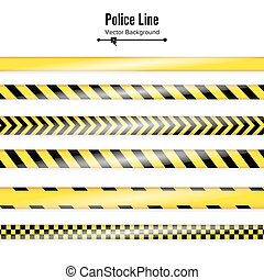 Yellow With Black Police Line. Danger Security Quarantine Tapes. Isolated On White Background. Vector Illustration