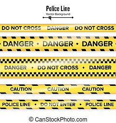Yellow With Black Police Line. Do Not Cross, Danger, Caution. Danger Security Quarantine Tapes. Isolated On White Background. Vector Illustration