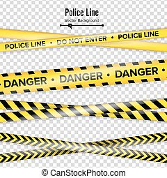 Yellow With Black Police Line. Do Not Enter, Danger. Security Quarantine Tapes. Isolated On Transparent Background. Vector Illustration
