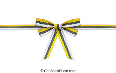yellow with gray and white ribbon and bow on the isolated white