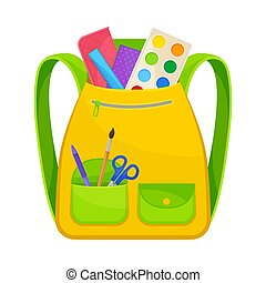 Yellow with green school backpack. Vector illustration on a white background.