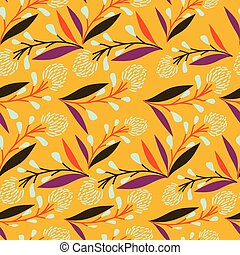 Yellow with long stems and whimsical florals seamless pattern background design.
