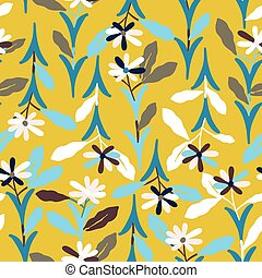 Yellow with long whimsical florals seamless pattern background design.