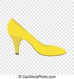 Yellow woman shoe icon, flat style