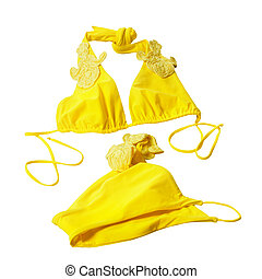 yellow woman swimming suit isolated on white