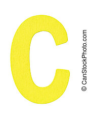 "yellow wooden alphabet capital letter ""C"" isolated on white background"