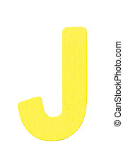 """yellow wooden alphabet capital letter """"J"""" isolated on white background"""