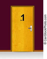 wooden door with number one