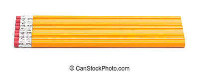 Yellow wooden number two pencils on a white background