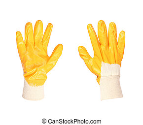 Pair of yellow working glove. Isolated on a white background