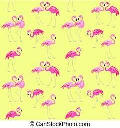 Yellow wrapping with cute pink lovely flamingo