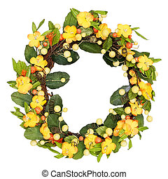 Yellow wreath - Wreath made from yellow flowers isolated on...