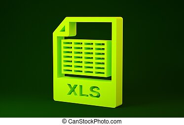 Yellow XLS file document. Download xls button icon isolated on green background. Excel file symbol. Minimalism concept. 3d illustration 3D render